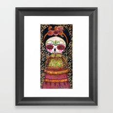 Frida The Catrina - Dia De Los Muertos Painted Skull Mixed Media Art Framed Art Print