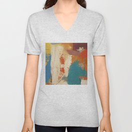 Rustic Orange Teal Abstract Unisex V-Neck