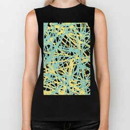Daisy Scribble Navy, Mint and Lemon Biker Tank