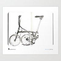 "brompton Art Prints featuring Mário Linhares, ""Brompton Bicycle"" by Urban Sketchers"