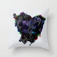 lovers Throw Pillows featuring LOVERS by i am gao