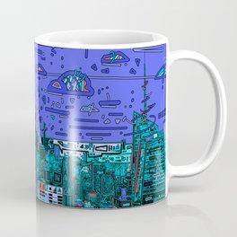 new york city panorama blue Coffee Mug