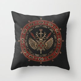 Gungnir - Spear of Odin Black and Red Leather and gold Throw Pillow