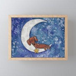 Dachshund on the Moon Framed Mini Art Print