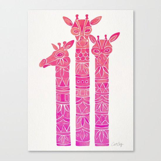 Giraffes – Pink Ombré Canvas Print