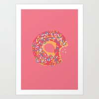 doughnut Art Prints featuring Doughnut by Fischerboy