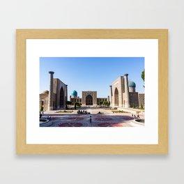 Sunset on Registan square - Samarkand, Uzbekistan Framed Art Print