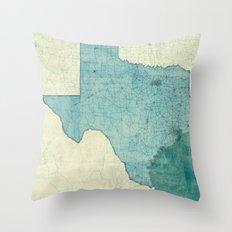 Texas State Map Blue Vintage Throw Pillow