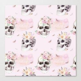 Floral Skull Pattern Canvas Print