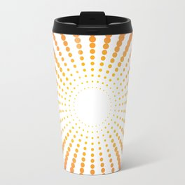 ORANGE DOTS SWIRL ON A WHITE BACKGROUND Abstract Art Travel Mug