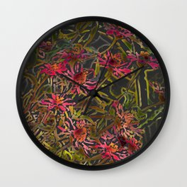Zinnia Pink Abstract by CheyAnne Sexton Wall Clock