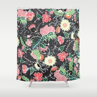 preppy Shower Curtains featuring Pastel preppy hand drawn garden flowers chalkboard by Girly Trend