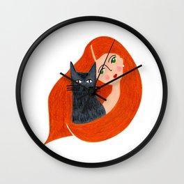 Besties. Crazy cat lady Wall Clock