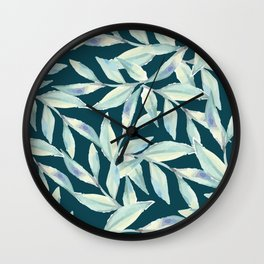 Abstract Mint Forest Green Watercolor Foliage Wall Clock