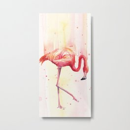 Pink Flamingo Rain | Facing Right Metal Print