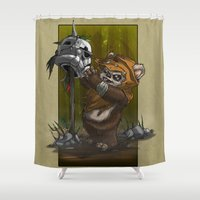 ewok Shower Curtains featuring Wicket by MrRevenge