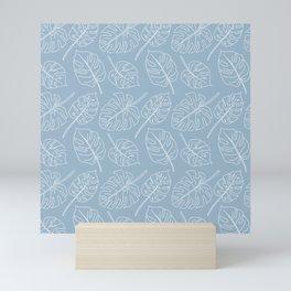 Monstera- Lines - Dusty Blue Mini Art Print
