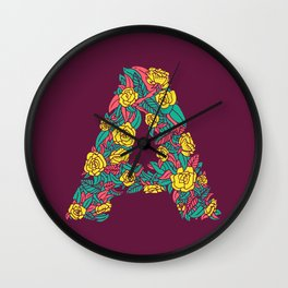 Floral Type - Letter A - Wine Berry Wall Clock
