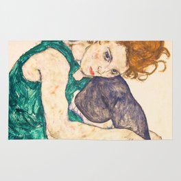 """Egon Schiele """"Seated Woman with Legs Drawn Up"""" Rug"""