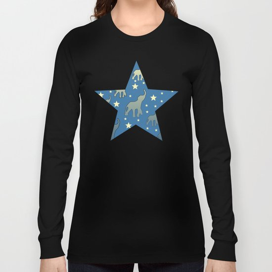 Blue Elephants Stars Pattern Long Sleeve T-shirt