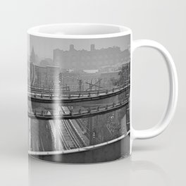 Tales of a Subway Train in Black and White Coffee Mug