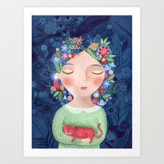 There are women that dreams with red cats Art Print