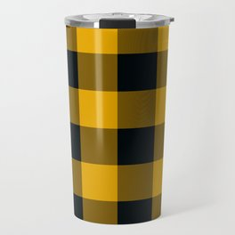 Yellow & Black Buffalo Plaid Travel Mug