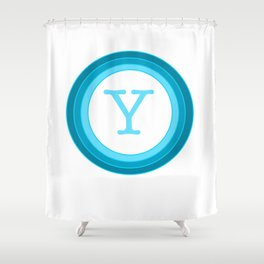 Blue letter Y Shower Curtain
