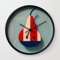 pear Wall Clocks featuring Pear by Jk & Frax