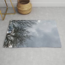 Winter Sky, Cloudy Winter Sky, Beautiful Clouds and Trees Rug
