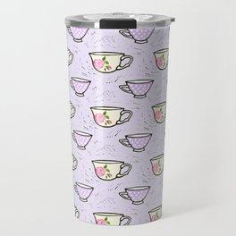 Rose Tea Cup Pattern Travel Mug