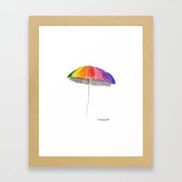 Rainbow Beach Umbrella Framed Art Print