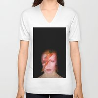 bowie V-neck T-shirts featuring bowie by Taranta Babu