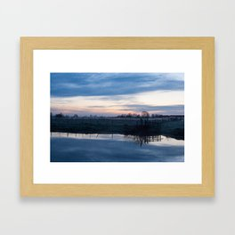 Sunset over a spring river Biebrza in Poland Framed Art Print