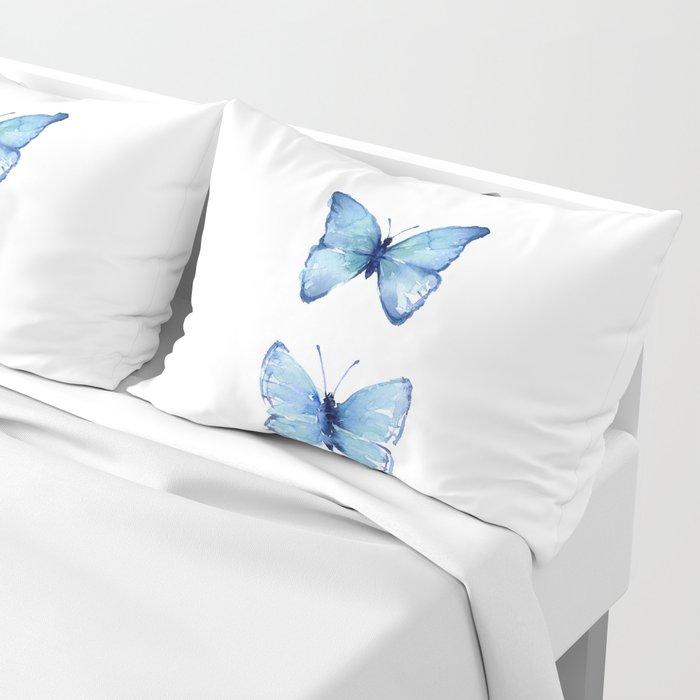 Two Blue Butterflies Watercolor Kissenbezug