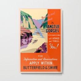 Vintage Yangtze River Gorges China Travel Metal Print