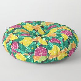 Citrus Fruit Summer Print Dark Floor Pillow