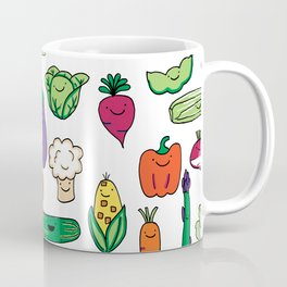 Cute Smiling Happy Veggies on white background Coffee Mug