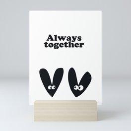Always Together Black Love Couples Black and White Herat Mini Art Print