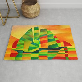 Chinese Junks, Sunset, Sails and Shadows Rug