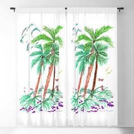 """""""Triplet Palms with Butterflies"""" Blackout Curtain"""