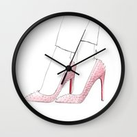 christian schloe Wall Clocks featuring Christian Louboutin  by Goga Alexandra