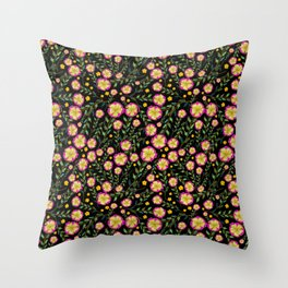 Flowers pattern with black background Throw Pillow
