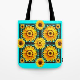 SOUTHWESTERN STYLE TURQUOISE SUNFLOWERS Tote Bag