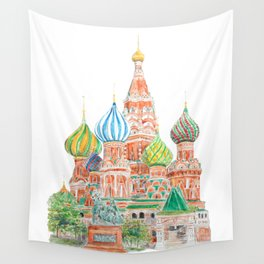 Moscow Saint Basil's Cathedral watercolor on background  Wall Tapestry