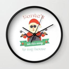 Santa's On His Way Wall Clock