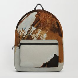 abstract mountains, rustic orange sunrise Backpack