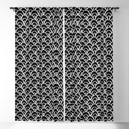 Seigaiha Mermaid Scales Pattern Shapes Black and White Blackout Curtain