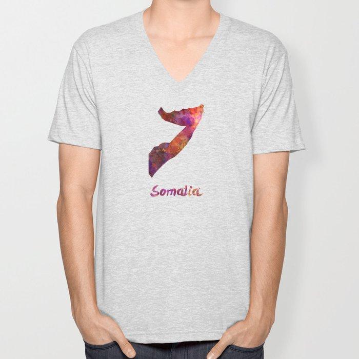 Somalia in watercolor Unisex V-Neck