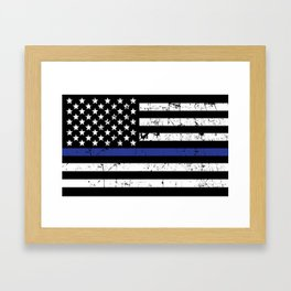 Police Thin Blue Line Flag Framed Art Print